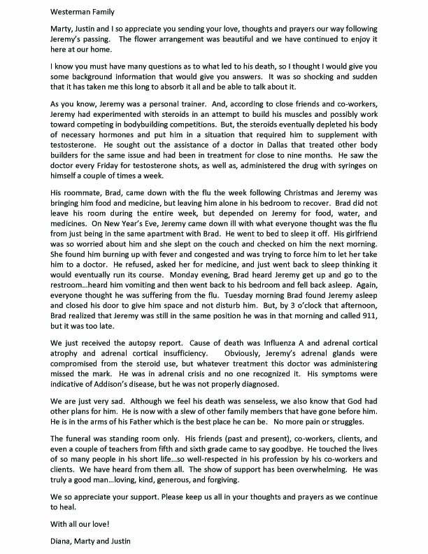 Jeremy Family Letter